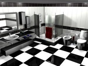 Črne in bele kopalnice: fotografije in skrivnosti oblikovanja